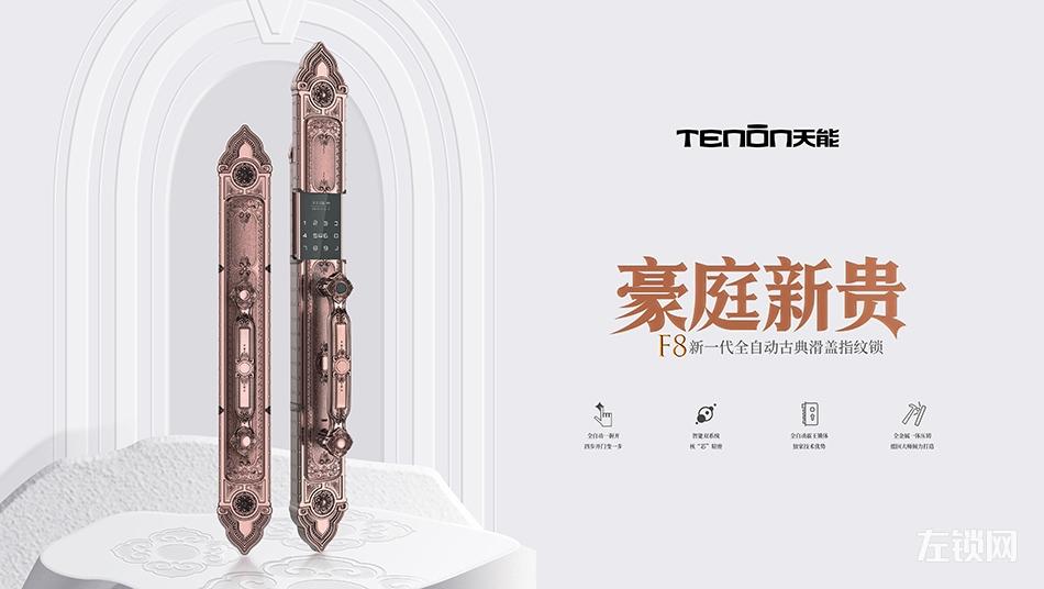 亚太天能F8全自动智能锁古典滑盖别墅指纹锁