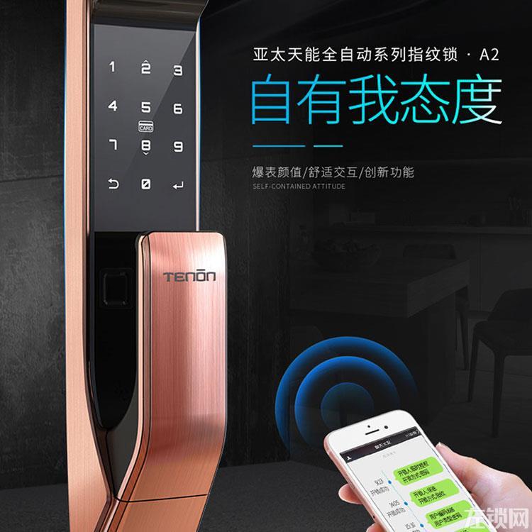 亚太天能新品A2全自动指纹锁 家用防盗门锁